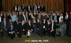 Alpha Psi visits Alpha Mu for 75th anniversary banquet.