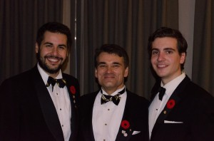 Three generations of Phi at Commemoration Dinner. Left to right: Charlie Madon, Elder Phi; Barth Gillan, Phi Alpha; Marco Peghini, Active Phi.